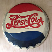 SOLD WILL NOT SHIP. Antique Pepsi Round Celluloid Sign 9 Inch Double Dot Logo Red White and Blue CAR00000