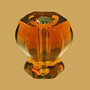 Amber Hexagon Shaped Glass Knob with Nickel Plated Bolt BM-5272