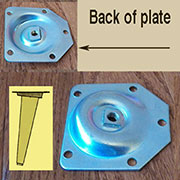 DISCONTINUED WILL NOT SHIP. SET of 3 Table Leg Mounting Plate for Angled Splayed Leg S-325ANGLU