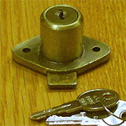 (B) Desk Drawer Lock 2 Keys L-2066D Antique Brass Plated