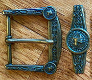 Antique Brass Templar Belt Buckle and Keeper