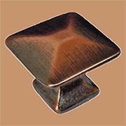Pyramid Knob Antique Copper Square Mission Arts and Crafts Knob