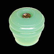 Art Deco Jadite Glass Knob With Nickel Bolt & Nut C-0327 C-0327J