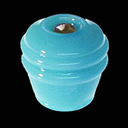 Art Deco Blue Milk Glass Knob With Nickel Bolt & Nut C-0327T BM-5564