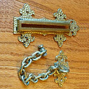 Arts & Crafts Solid Hammered Brass Door Chain Slide Bolt TR-B4506P