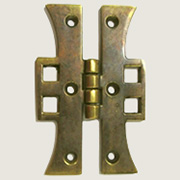 "Mackintosh Style Antiqued Cast Brass Arts n Crafts Pair of ""H"" Hinges AB-1674"