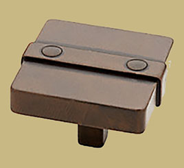 Handcrafted Rusted Iron Arts and Crafts Drawer Pull Knob 1-1/2 Inches Square HRSH-65177RI
