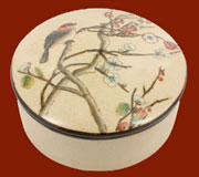 Autumn Cherry Blossom Round Lidded Box  HA-7023-137