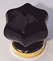 Star Shaped Black Glass Knob with Brass Base 1-1/2 Inch C-0322E BM-5347PB