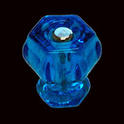Hexagon Peacock Blue Glass Knob with Nickel Bolt K-41C BM-5182