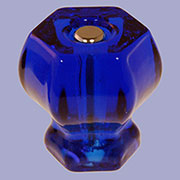 Cobalt Blue Hexagon Shaped Glass Knob with Nickel Plated Bolt 1-1/2 Inch C-0326B BM-5213