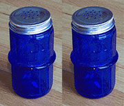 Pair of Cobalt Blue Hoosier Colonial Spice Jars HSJ-1B AA-16136