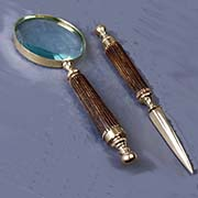 Brass & Bone Magnifying Glass with Letter Opener Set. AA-51477
