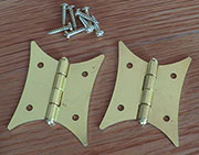 Pair of Brass Plated Steel Colonial Butterfly Hinges