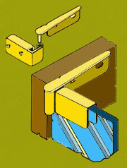 Inset Glass Door Hinge HT1000P Pair in Brass