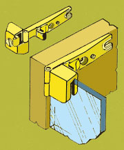 Inset Glass Door Hinge HT-5671P Pair in Brass