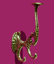 Large Solid Cast Brass Hall Tree Coat Hook A-18