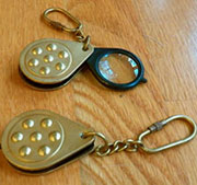 Magnifying Glass Keychain Folding Brass and Nylon UDA-1179