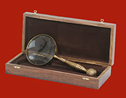 Brass Magnifying Glass in a Wooden Box UDA-1080