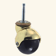 Set of 4 Rubber Ball Stem Brass Casters C-4002PE