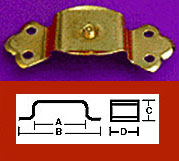 """D"" Brass Plated Steel Trunk Handle Loop with Attach Center Pin OBG-17BP"