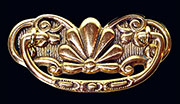 Victorian Drawer Pull in Cast Brass 3 Inch Centers.