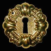 Victorian Keyhole Cover Stamped Brass B-0263