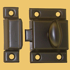 """B"" Vintage Turn Latch for Cupboard Cabinet Oil Rubbed Bronze  Stamped Steel 2-1/8"
