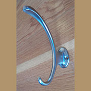 Satin Nickel Double Hook, Contemporary Coat Hook A-55472S-HERSH