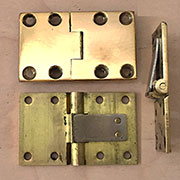 Pair of Solid Polished Brass Butler Tray Table Hinges H-10A VH Anglo