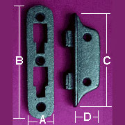 Cast Iron Bed Rail Fastener Hook Set F-9405 Small 4 Inch Long 4 male 4 female