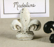 Homart White Cast Iron fleur de lis Place Card Holder HA-1561-6
