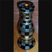 Checkered Wooden Candle Holder AA-20514