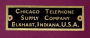 Chicago Telephone Supply Company Brass Label for Antique Oak Telephones B-9982