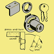 Chrome Drop Flap Door Cylinder Lock and One Key L-9411K