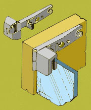 Inset Glass Door Hinge HT-5671K Pair in Chrome