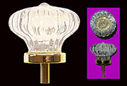 Clear Fluted Scalloped Colonial Glass Knob with Brass Base C-0317 BM-5304PB
