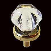 Star Shaped Glass Knob with Brass Base 1 Inch Diameter C-0321C BM-5306PB