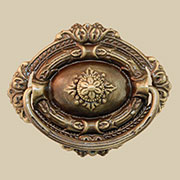 Colonial Revival Antique Brass Center Mount Drawer Pull BM-1169AB
