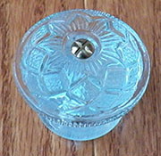 Late Victorian Hand Pressed Faceted Cut Glass Crystal Knob KG-40