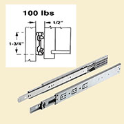 "Pair of 18"" Drawer Slides Full Extension Telescopic Side-Mounted  DC-3010-18N"
