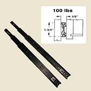 "Pair of 12"" Drawer Slides Full Extension Telescopic Side-Mounted Black DC-3010-12S"