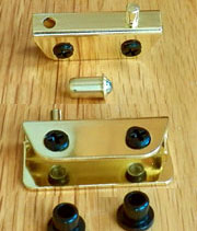 Inset Glass Door Hinge Self Latching H-17485P Brass Self Latching