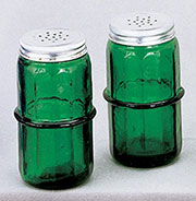 Pair of Green Hoosier Colonial Spice Jars HSJ-1G AA-16198