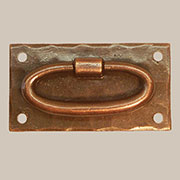 Antique Copper Gustav Stickley Drawer Pull with Long Oval Ring