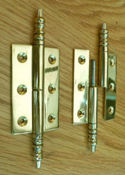Antique Wardrobe Lift Off Finial Hinge Pair in Solid Brass  B-1786