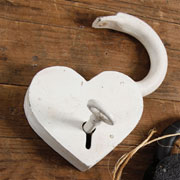 Heart Shaped Cast Iron Padlock in Antique White HA-1582-6