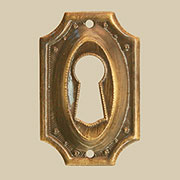 Antique Stamped Brass Colonial Revival Keyhole Cover BM-1217AB