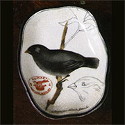 Audubon Black Finch Porcelain Tray HA-7010-71