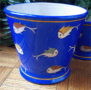 Aquatic Blue Porcelain Cachepot Flower Pot by Homart. HA-7032-2